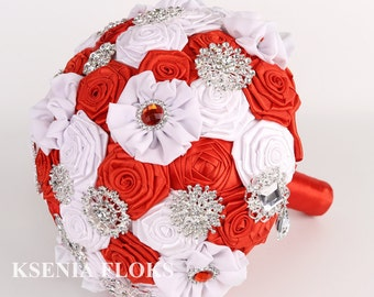 Red White Fabric Bouquet Brooch Bouquet Broach Bouquet Flowers Bouquet Wedding Bouquet Bridal Bouquet Jewelry Bouquet Bridesmaids Bouquet