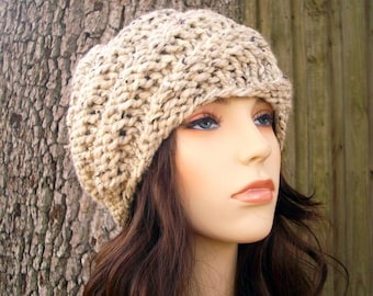 Knit Hat Womens Hat - Swirl Beanie in Oatmeal Knit Hat - Oatmeal Hat Womens Accessories Winter Hat