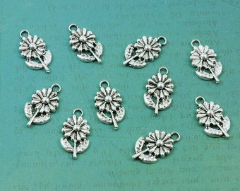 Silver Daisy Flower Charms - Package of 10