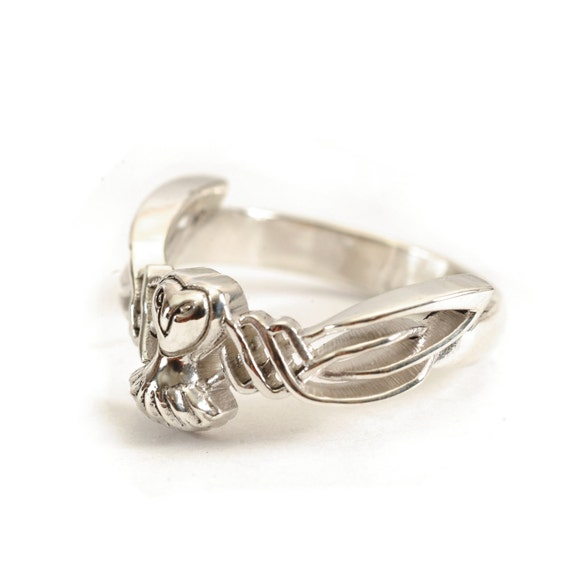 Sterling Silver Owl Ring, Celtic Ring, Alternative Wedding Ring, Handcrafted Rings, Custom Ring Size, Owl Jewelry, Woven Design CR-1011