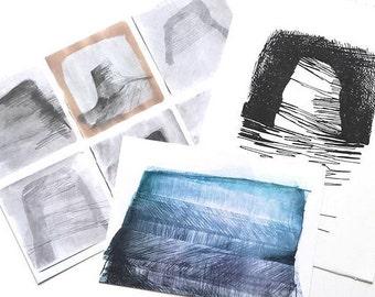 Art gift set - postcard, print, original screenprint, seascape art