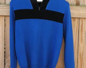 Cobalt Blue and Black Vintage Ski Sweater Men Sz Medium