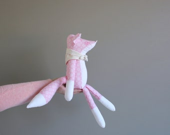 Pink stuffed fox plush - Fox toy stuffed animal - Handmade kids toy - Modern nursery decor- Unique baby gift - Soft toy
