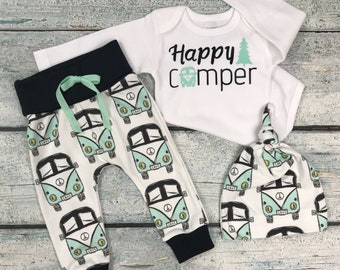Happy camper/boys outfit/organic cotton/baby boys