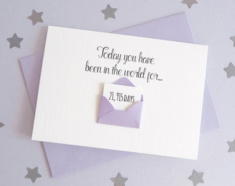 Days You've Been In The World Mini Envelope Card – Personalised Birthday Card – Card for Husband Wife – birthday card for friends