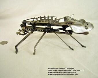 Spikey Shoe Stretcher Grasshopper 2- Welded Steel Industrial Sculpture