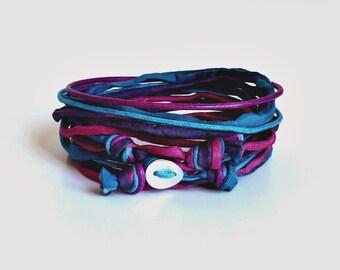 Silk bracelet wrap Bracelet Habotai Bracelet