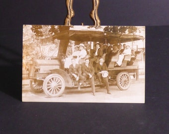 vintage real photo postcard,Early bus