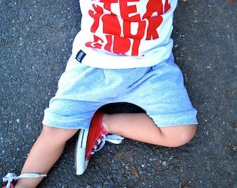 baby shorts - toddler shorts - grey shorts- harem shorts - shorties