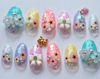 Kawaii nails, 3D nails, Japanese nail, nail art, spring nail, summer nail, deco nail, oval nail, pastel nails, floral nails, nail dangling