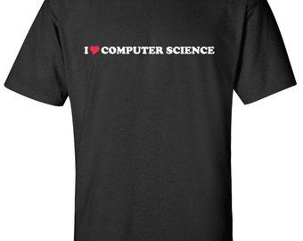 I Love Computer Science Heart  Men Women T-Shirt