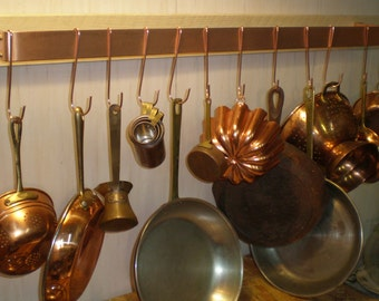 36 W x 5 D x 1-1/2 H Wall Mounted Brushed Finish SOLID COPPER Pot Rack & 12 Pot Hooks - FREE Shipping to U S Zip codes