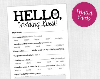 Fun Game for Your Wedding Guests, 25 cards