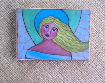 """Angel Painting print Woodblock Print encaustic 3.5"""" x 5"""""""
