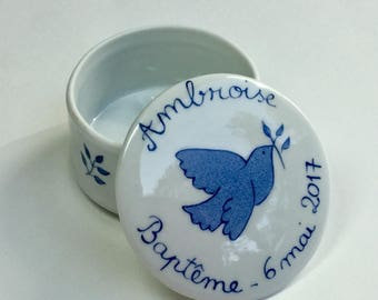 Hand painted Navy Blue Dove personalized baptism favors porcelain box