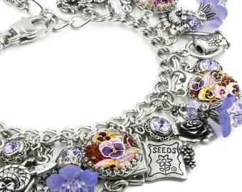 Flower Bracelet, Gardner Bracelet, Flower Jewelry, Gift for Gardner, Charm Bracelet, Pansy Flower, Purple Flower Jewelry, Gardening Tools