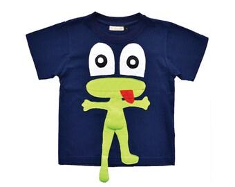 Baby Tee, Boys Tee, FROG T-shirt, Baby Gift, Baby Clothing, Applique, Navy Tee, Animal Clothing, Boys Shirt