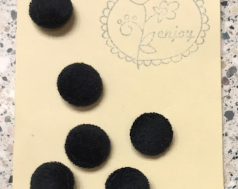 Velvet Covered Black Buttons 6 Pieces