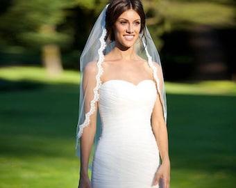 BEST PRICE! Eyelash Lace Fingertip Length Wedding Bridal Veil, 1T, Single Tier, 1 Layer - Light Ivory, Diamond White, Bright White or White