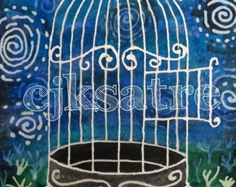 5 x 7 Watercolor Card/Print: Bird Cage