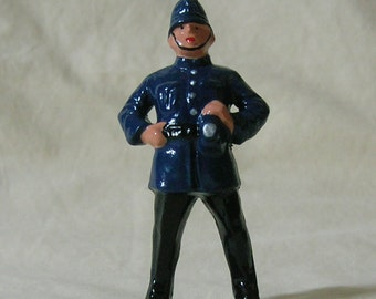"English Bobby, British police officer, 2-3/4"" tin figure, G scale model train layout, hand-painted reproduction of vintage toy figure"