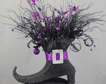 Halloween Witch Boot, Halloween Decoration, Purple Witch Boot Centerpiece, Witch Centerpiece, Black and Purple Arrangement