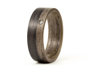 Women's wood and graphite ring with Swarovski. Natural wooden gray engagement ring. Valentine's Day (03500_6S)