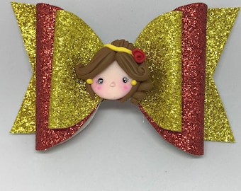 Beauty & The Beast Inspired Bow // Belle Glitter Bow // Disney Princess Glitter Bow