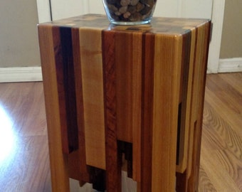 End Table or Side Table - End Grain w/ Butcher Block Pattern