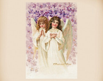 Angels With Lilac New 4x6 Vintage Postcard Image Photo Print AN19