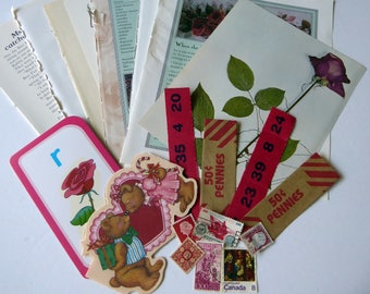 Maroon ephemera pack, collage pack, scrapbooking, art, mixed media, 20 pieces, M20