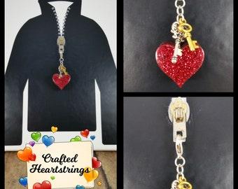 Zipper Pulls ~ Purse Charms ~ Backpack Decorations ~ Handmade ~ Chunky Heart w/ Keys