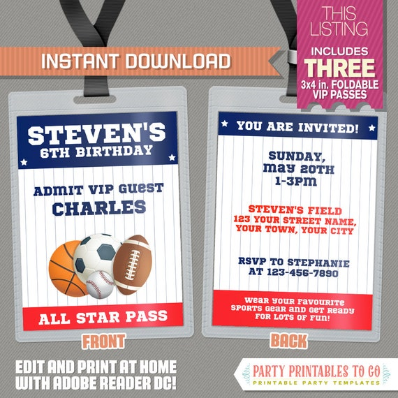 All star sports vip pass birthday party invitations instant stopboris Images