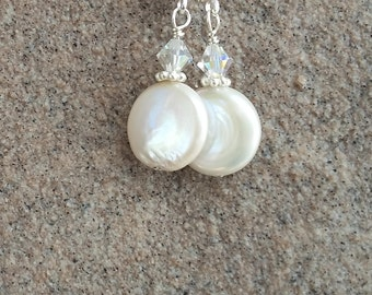 Simple Coin Pearl Sterling Silver with Swarovski Crystals Earrings