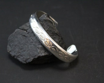 Sterling Silver Stamped Tribal Cuff Bracelet