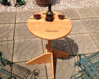 Wine Table: Outdoor folding table with matching stand. Wedding gift, Retirement, Father's Day, birthday gift, personalized gift, patio, RV