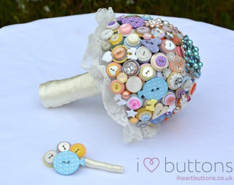 Pastel Wedding Button Bouquet with Lace - Alternative to Flowers