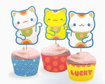 Lucky Cat cupcake set PDF templates