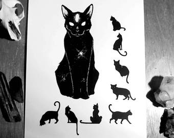 Witchcraft Art Print, Occult Art Print, Wiccan Art print,  CATS OF ULTHAR