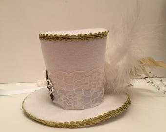 Mad Hatter Steampunk White Bridal Mini Top Hat Fancy Dress Halloween