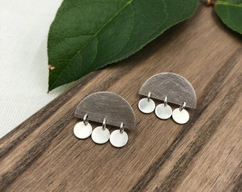Modern Geometry Post Earrings / Sterling Silver Post Earrings / Contemporary Post Earrings / Everyday Silver Post Earrings
