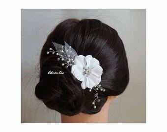 Wedding Hair Flower Clip - Bridal Hair Clip - Floral Bridal Hair Piece - Wedding Hair Adornment - Romantic Rustic Wedding Hair Clip