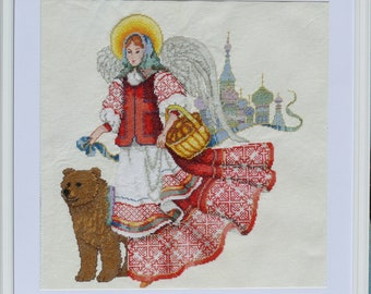 Russian angel cross stitch embroidered picture painting