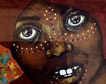 "Original Painting ~ ""La Soif"" (Thirst) ~ African Ethnic ~ Fine Art ~ OOAK"