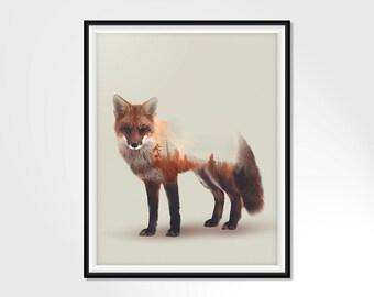 Animal wall art, forest animal prints, fox wall art, fox print, animal print, fox gift, vintage wall art, fox art, wildlife art