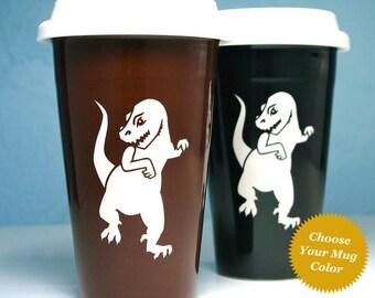 T-Rex Travel Mug - ceramic lidded coffee cup