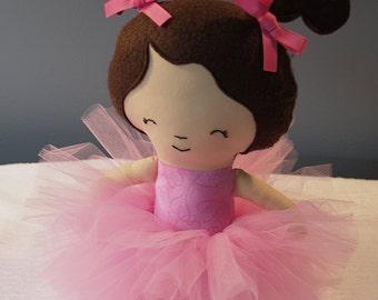 Handmade Fabric Doll Pink Tutu