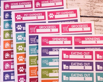 Expense Tracking - Home - Pet - Spending -  Planner Stickers for eclp, happy planner and more
