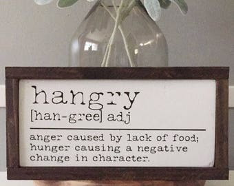 Hangry Definition | Wood Sign