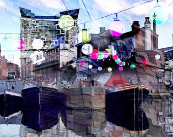 Birmingham city centre urban art photographic collage print - 42cm x 29.7mm - Canals, Mailbox, The Cube